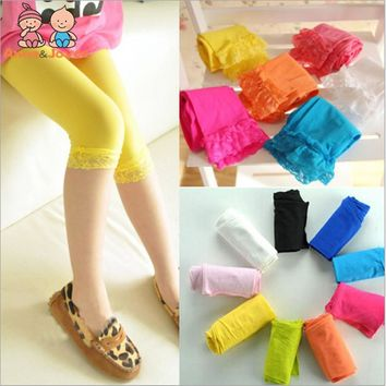 Spring, Summer, New Candy Color Lace Hook Lace Children Pantyhose At Five To Seven Points Leggings Girls ATWS0119