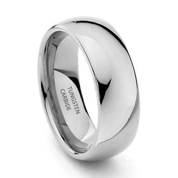 8mm Tungsten Wedding Band (Platinum)