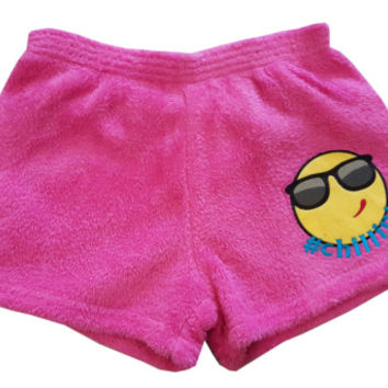 Made with Love and Kisses Girl's Fuzzy Pink #CHILL Boxer Shorts