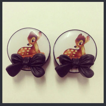 24mm 1 Bambi Bow Ear Plugs by TeacupRose on Etsy