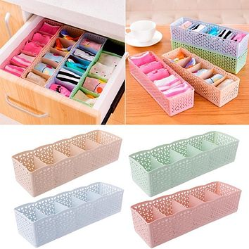 Underwear Organizer Storage Box Bra Socks Drawer Cosmetic Divider Tidy 5 Cells Storage Basket