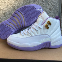 Air Jordan 12 Retro AJ 12 White/Purple Women Basketball Shoes