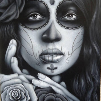 Mexican catrina skull girl black velvet oil painting handpainted signed art No.4
