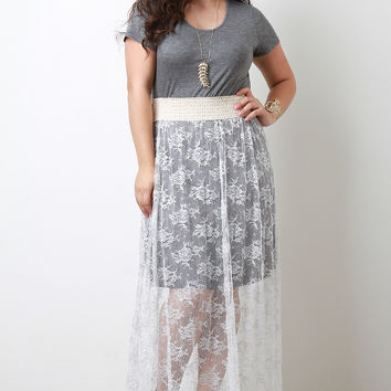 Floral Lace Combo Twofer Maxi Dress