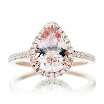 Rose Gold Pear Cut Morganite Ring 10x7mm Pear in Diamond Halo Single Shank Signature Design Engagement Anniversary Ring