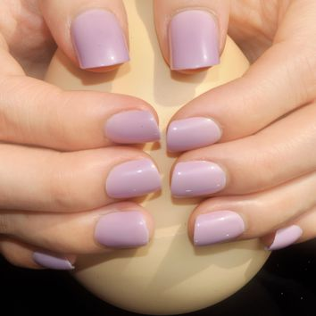 Fashion Candy Color Flat Fake Nail Light Purple Nails For Finger Full Lady Artificial Nail Tips Daily Style 484