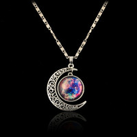 Hot Galaxy Universe Hollow Crescent Moon Glass Cabochon Pendant Silver Tone Necklace (Size: 50 cm)