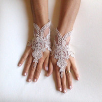 cappuccino Wedding gloves bridal gloves  fingerless lace  gloves french lace gloves