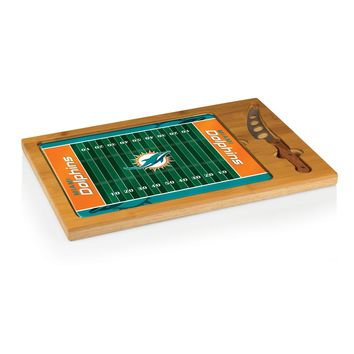 Miami Dolphins - Icon Glass Top Serving Tray & Knife Set (Football Design)