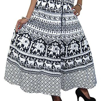 Womens Maxi Skirt Black Animal Printed Tiered Flare Boho Hippie Gothic Skirts: Amazon.ca: Clothing & Accessories