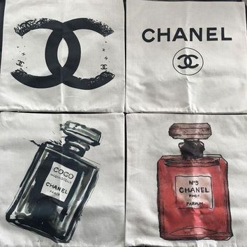 4 New Designer Chanel Parfum Pillow Cases Set Of 4