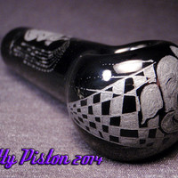"""Dumbo """"Pink Elephants on Parade"""" Hand Engraved Black Glass Pipe by Kitty Piston"""