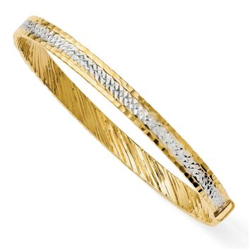 6mm 14k Yellow Gold & White Rhodium Diamond Cut Bangle Bracelet