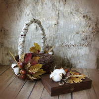 Fall Wedding Flower Girl Basket Fall Wedding  Rustic Wedding Decoration Autumn Wedding