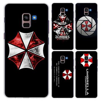 for Galaxy A6+ case Umbrella Theme Resident Evil style hard clear frame back Case cover for Samsung A6 A6+ A8 A8+ 2018 A3 A5 A7