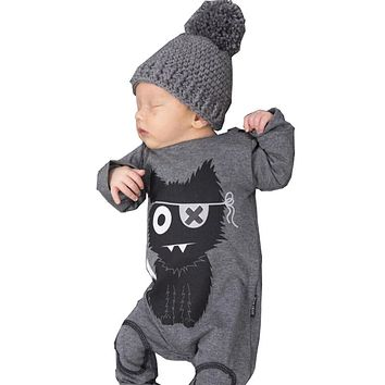 Spring Baby Rompers 2018 Gray Baby Boy Clothes Long Sleeve Cotton Cartoon One Piece Clothing Baby Boys Jumpsuit