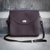 Handmade Leather Purse - Dark Brown Hip Bag / Leather Satchel / Shoulder Bag - Hand Bag - Cowhide Leather Bag - Ipad Bag / Handbag