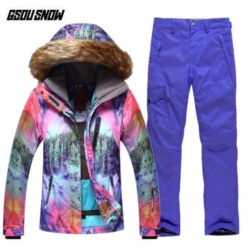 GSOU SNOW Brand Ski Suit Women Snowboarding Jackets Skiing Pants Winter Waterproof Snow Clothes Female Outdoor Sports Warm Coats