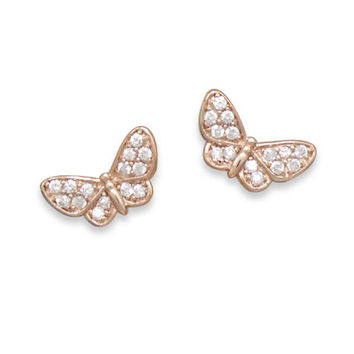 14 Karat Rose Gold Plated Pave Cubic Zirconia Butterfly Earrings
