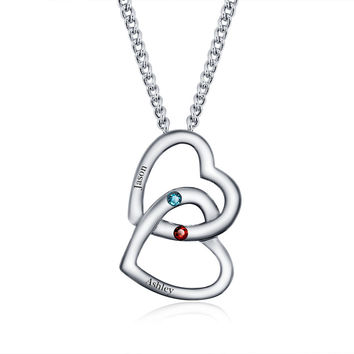 .925 Silver Personalized Merging Heart Name Necklace w/ Birthstones