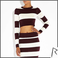 Rihanna collection for River Island - Burgundy  stripe crop jumper