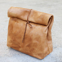 Leather Paper Bag with Strap Closure