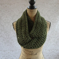 Infinity Scarf Dark Olive Green Fall Winter Women's Accessory Infinity