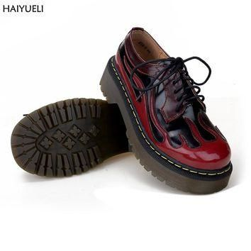Genuine Leather Shoes For Women Fashion Street Punk Flame Martin Shoes Brand Style Lac