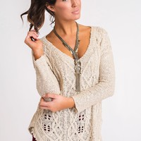 Stage Right Distressed Sweater (Taupe)
