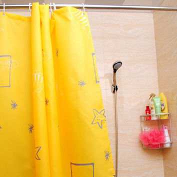 180*180cm 1Pcs Yellow Sea Stars Shower Curtains Design  Water Resistance Fabric Polyester  Waterproof Home Bathroom Curtains