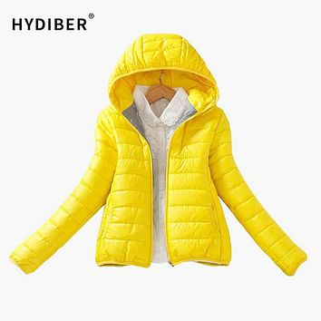 Solid Color Zipper Hooded Women Spring Jacket 548H