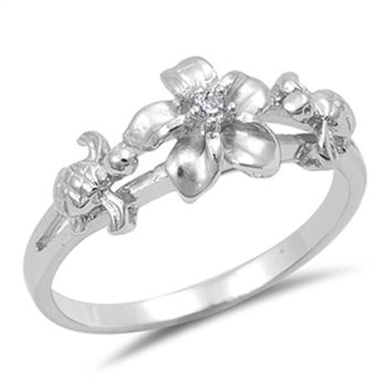 Sterling Silver Flower and Turtle Design with Cubic Zirconia Ring