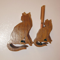 Hardwood cat fridge pen holder magnet