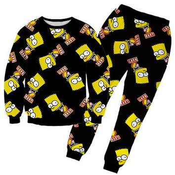 Alisister 2015 new fashion bart simpson set black hoodies & jogging pants Harajuku Clothes sport 3d cartoon suit for men/women