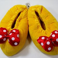 DISNEY PARKS MINNIE MOUSE PLUSH HOUSE SLIPPERS SHOES/SANDALS/SOCKS/FLIP FLOPS/