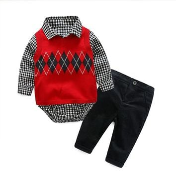 Newborn Baby Boy Party Romper Clothes Set Fashion Gentleman Knit Pattern Jumpsuit Infant Clothing Suit Vest + Rompers + Pants