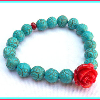 Turquoise Coral Bracelet, Stretch Bracelet by Lyrisgems