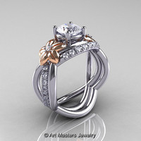 Nature Inspired 14K Two-Tone Gold 1.0 Ct White Sapphire Diamond Leaf and Vine Wedding Ring Set R180S2-14KTTWRGDWS