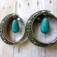 Pair of Antique Brass Swirl Moon Tunnels w/ Turquoise Teardrop Beads - Girly Plugs - Feminine Gauges - Handmade - 30mm 32mm - Boho -Bohemian
