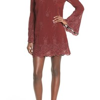 Wayf 'Halifax' Embroidered Bell Sleeve Shift Dress | Nordstrom