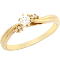 10k Yellow Gold Round CZ Promise Ring with Round Accents on Sides