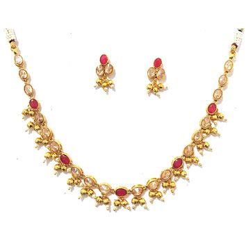 Simple gold bead dangling polki stone choker Necklace and Stud Earring set