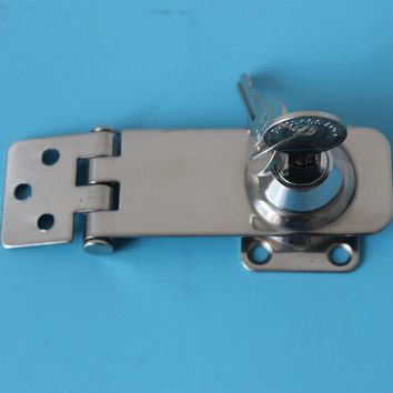"3""(76mm) CHROME LOCKING HASP Gate/Door/Shed/Garage/Van/Padlock AUTO SELF LOCK"