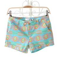 Colorful Geometry Print Shorts
