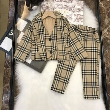 Burberry Toddler Boy Clothes Formal Kids Autumn Suit Children'S Wear Grey Vest + Shirt + Trousers   Boys Outfit Baby Clothes