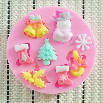 Christmas Style Silicone Fondant Mould for Soap Craft Cake Decorating Tool = 1945983940