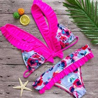 brazilian floral bikini bottoms women suit maillots de bain femmes swimwear women swimsuit girls ruffle bathing suits swimming