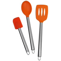 Evelots Set Of 3 Kitchen Utensils,Slotted Turner,Spatula & Spoon,Assorted Colors