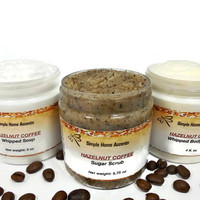 Hazelnut Coffee Bath Gift Set - Whipped Soap, Sugar Scrub and Body Butter - Gift under 25 - Vegan Bath Set