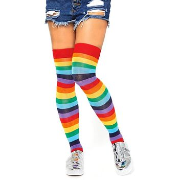 Ready For Pride Multicolor Rainbow Stripe Pattern Thigh High Stockings Tights Hosiery